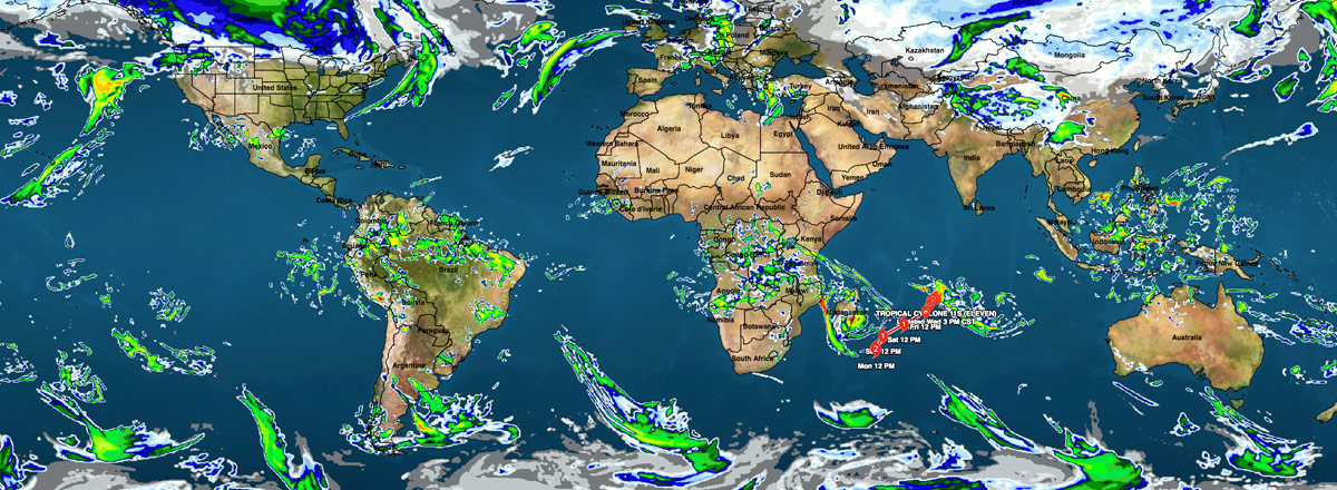 Global weather from Earthcast model data